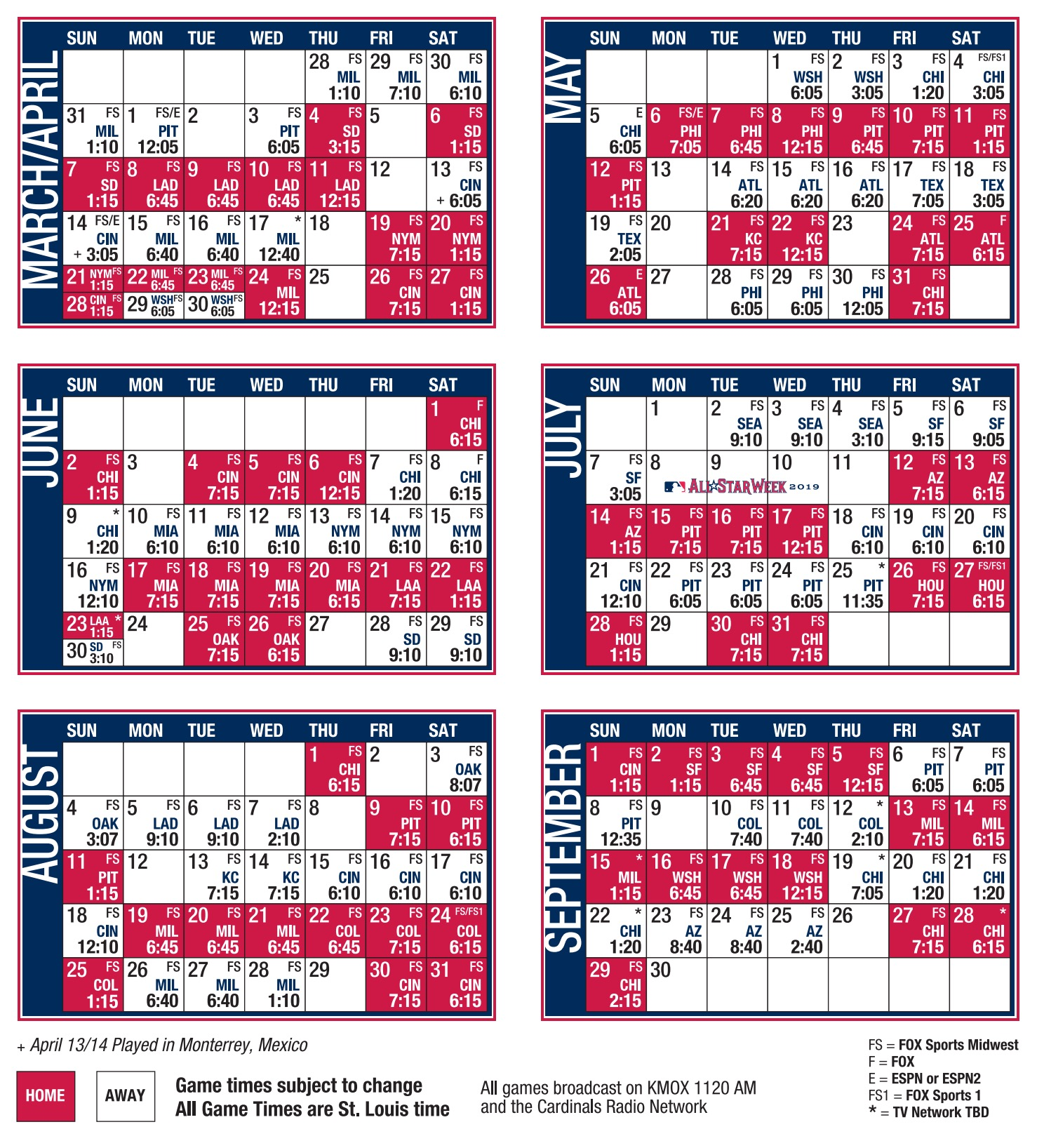 Cardinals Schedule